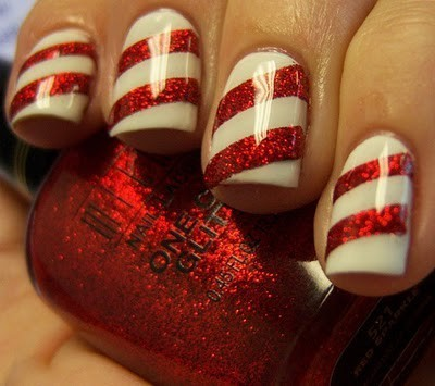 Cute candy cane nails shanpagnes world so a really easy way to make your own cute candy cane nails if you can paint your nails half way decently unlike me start off by painting your nails prinsesfo Image collections